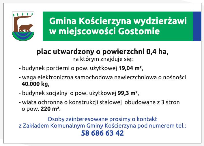 Oferta wydzierżawienia placu w Gostomiu