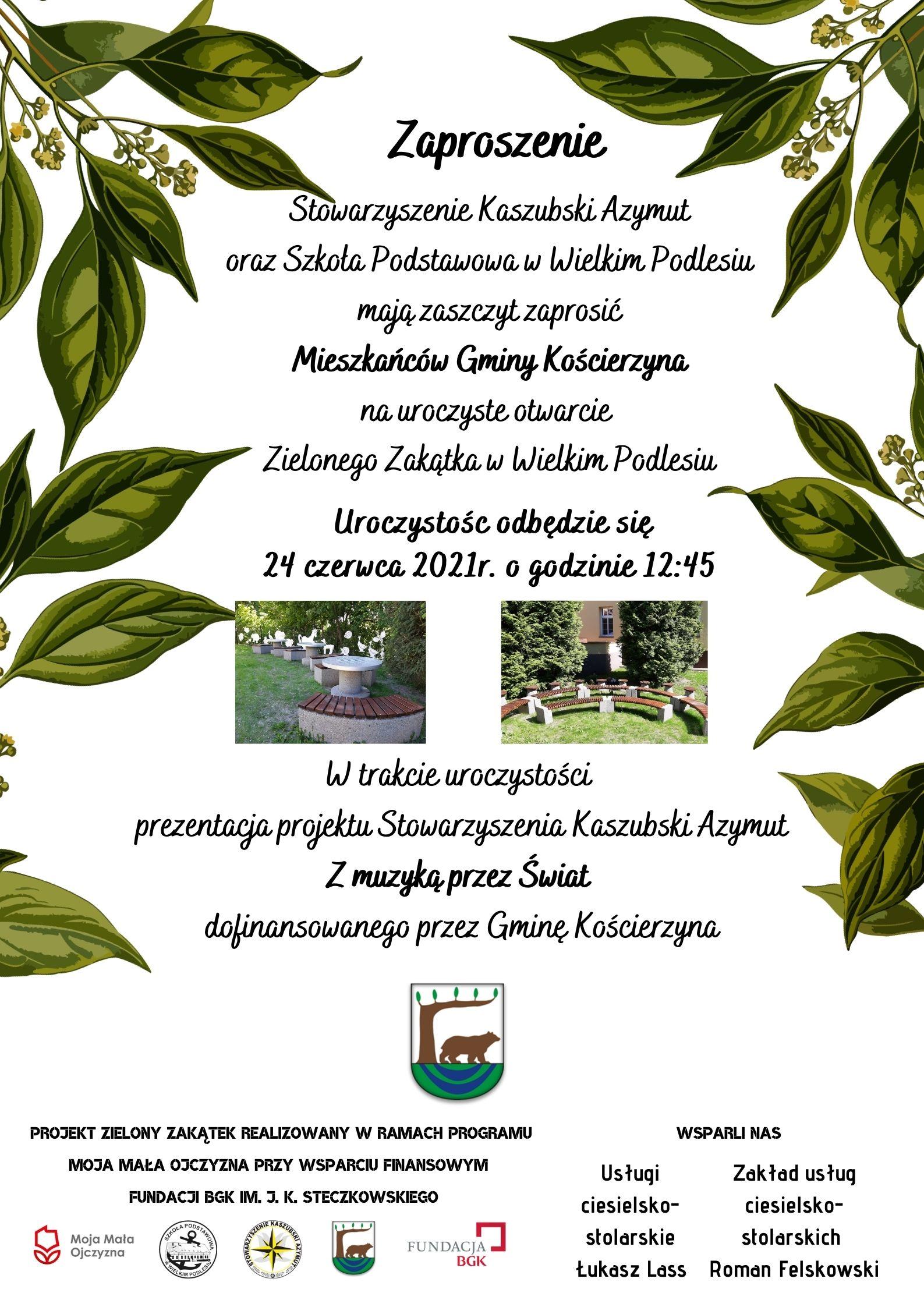 Zaproszenie na otwarcie Zielonego Zakątka w Wielkim Podlesiu